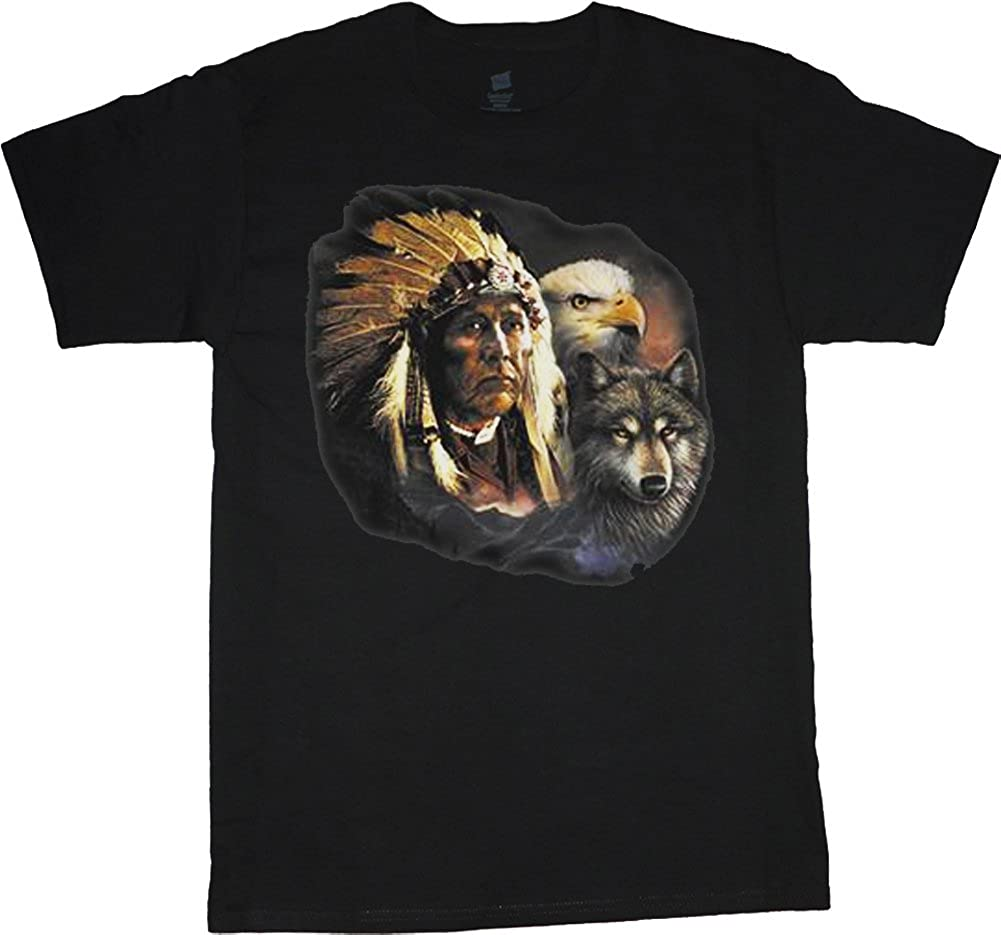 Big Men's Clothing Shirt Indian Deer Wolf Eagle Decal tee