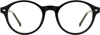 TIJN Lunettes anti Lumière bleue Anti fatigue oculaire Ronde Optique Monture Lunettes de vue pour Ordinateur pour Femme et...