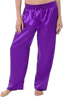 Alexander Del Rossa Womens Satin Solid Color Pajama Pants, Silky Pj Bottoms