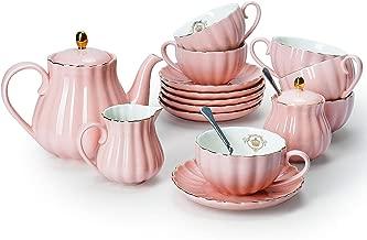 Amazingware Porcelain Tea Set - Tea Cup and Saucer Set Service for 6, with 28 ounces Teapot Sugar Bowl Cream Pitcher Teaspoons and Tea Strainer - for Thanksgiving - Pumpkin Fluted Shape, Pink