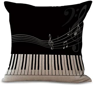 Music Theme Piano Cotton Linen Throw Pillow Case Cushion Cover Home Office Decorative Square 18 X 18 Inches