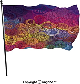 AngelSept Spun Polyester Built for Outdoor,Abstract Leaf Shaped Colorful Wavy Curved Figures Gradient Toned Boho Kitsch Pattern Multicolor,3x5 ft,Flag for Wedding Party Home Decor