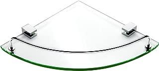 Vdomus Bathroom Tempered Glass Corner Shelf, Stainless Steel Shower Shelf with Rail [Updated]