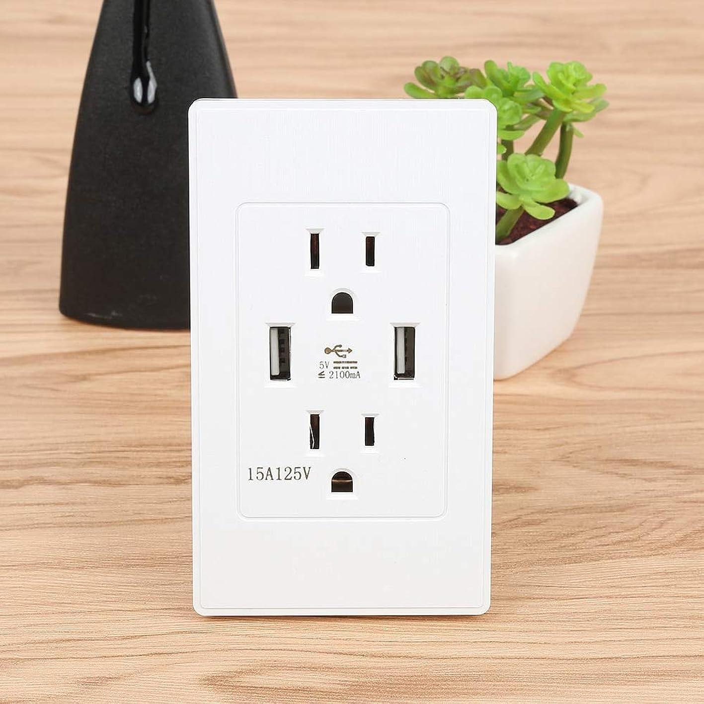Jammas New Professional Dual USB Power Wall Charger Dock Socket Electric Power Outlet Panel Plate White US Plug Type - (Standard: us plug) tmrgjwwrrku630