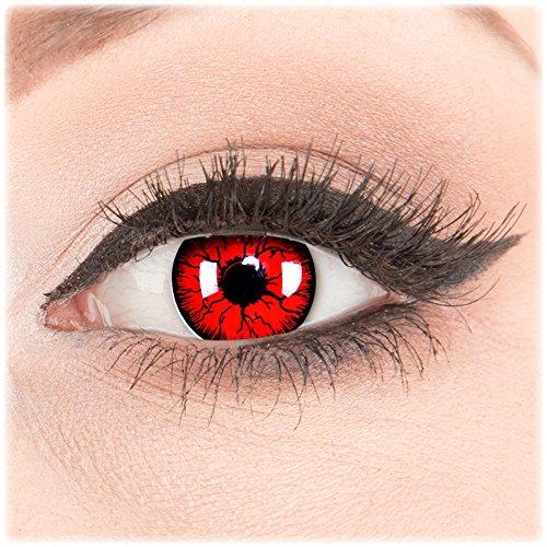 Funnylens 1 Paar farbige rote red Crazy Fun Metatron Kontaktlinsen MIT STÄRKE -5,00 und Behälter von Funnylens. Perfekt zu Halloween, Karneval, Fasching oder Fasnacht.