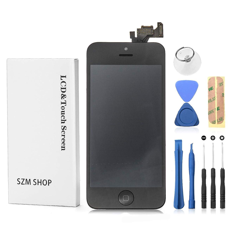 タブレット手入れ豊かなSZM iPhone5 フロントパネルセット 液晶パネル LED スクリーン(スピーカー +フロントカメラ+ホームボタン付き)(5黒)