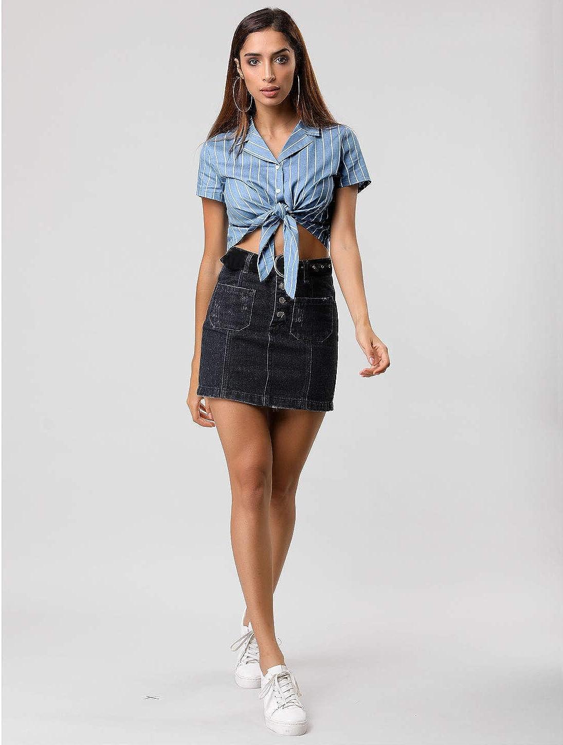 Allegra K Women's Striped Button Up Short Sleeve Tie Front Crop Shirt