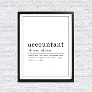 WPFZH Canvas Decorative Painting Funny Accountant Definition Wall Art Canvas Posters Prints Accountant Painting Black and White Wall Picture Office Decor-50x70cm