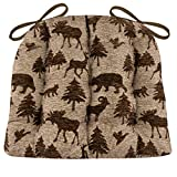 Waypoint Brown Dining Chair Pad with Ties - Extra-Large - Latex Foam Fill Cushion - Woodlands Rustic Lodge & Lake House Decor (Brown / Bears, Deer, Fowl, Moose, Ram, Foxes )