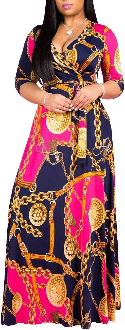 SheKiss Womens Casual V-Neck Floral Print Long Maxi Flowy Dress Plus Size Plain Party Vintage Outfits