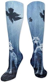 JONINOT, Calcetines altos de algodón azul lobo sobre la rodilla para el muslo calcetines largos para deportes, yoga, senderismo, ciclismo, correr, fútbol