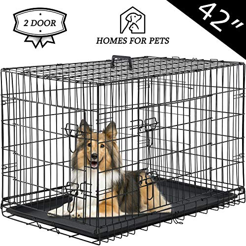 Vnewone Large Dog Crate Dog Cage Medium Dog Kennel Animal Pet Crate Pet Cage Metal Wire Double Door Folding Fully Equipped Outdoor Indoor with Plastic Tray and Handle (42