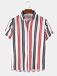 Men's Casual Short Sleeve Shirts Mens Hawaiian Shirt Funky Vertical Stripe Light Loose Shirts Shenme (Color : Red, Size : L)