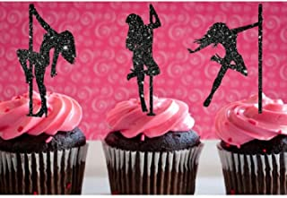 Various Fun Designs of Sexy Pole Dancers/High Heels/Corset/Champagne Glasses/Bride & Groom Cupcake Toppers for Birthday/Bridal Sower/Weddingd/New Years Events/Party sets of 12… (Pole Dancing)