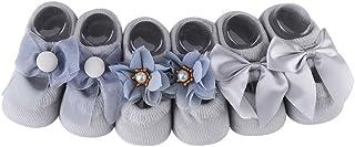 Zerodis 3 Pares/Conjuntos Calcetines del Piso del Algodón de La Niña Recién Nacido Antirresbaladizo del Tobillo de La Flor de La Mariposa del Regalo Toddle 0-3 Años(Grey/1-3 Year Old)