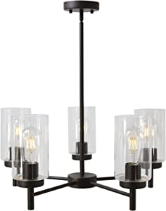 VINLUZ Contemporary 5-Light Large Chandeliers Oil Rubbed Bronze Modern Lighting Fixtures Hanging Clear Glass Shades Pendant Lighting for Dining Room Living Room Kitchen