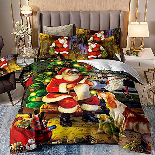 Meetlife - Juego de ropa de cama navideña con funda de edredón y fundas de almohada en 3D de Papá Noel, microfibra, para niños y adultos, 220 x 240 cm