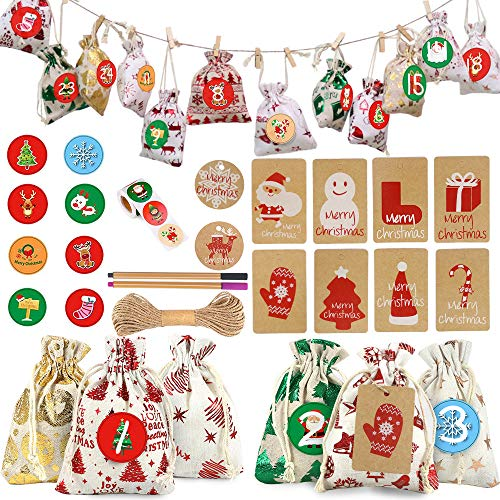 Calendario de Adviento Navidad, Bolsas de regalo, DIY Calendario Adviento Navidad con 1-24 pegatinas y etiquetas, Bolsas de Adviento de arpillera con cordón, Cuenta Atrás para Navidad Decoración
