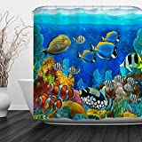 Baccessor Fish Shower Curtain Ocean Clear Undersea World Sea Animal with Corals Reefs and Tropical Fishes Waterproof Fabric,60' W x 72' H (150CM x 180CM) - Cartoon Watergrass Colored Fish