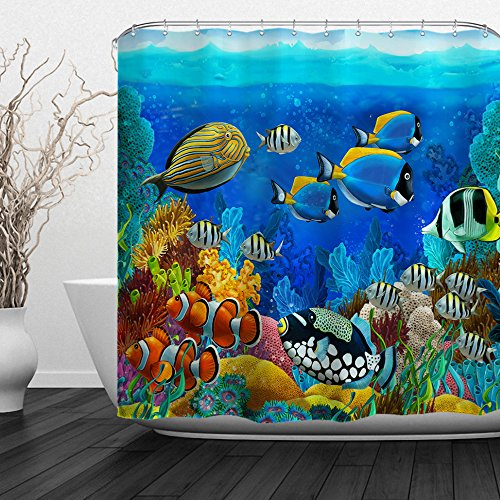 Baccessor Fish Shower Curtain Ocean Clear Undersea World Sea Animal with Corals Reefs and Tropical Fishes Waterproof Fabric, 72' W x 72' H (180CM x 180CM) - Cartoon Watergrass Colored Fish