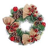 XHXSTORE Couronne de Noël Porte avec Pommes de pin et Baies Guirlande de Noël pour Décoration Extérieur et Intérieur Sapin Porte Cheminée-30cm