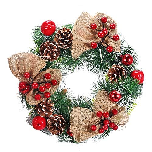 XHXSTORE Couronne de Noël Porte avec Pommes de pin et Baies