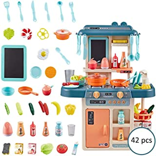Hamkaw Kids Kitchen Playsets with Lights and Sounds, Pretend Play Food Set with Real Water Faucet & Steam Pots and Pan Cooking Utensils, BPA Free Cookware Playset Early Learning Toy Gift for 3 Years