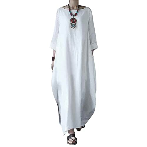 fc1240a773c00 BBYES Women Vintage Loose Striped Long Sleeve Casual Kaftan Boho Maxi  Cotton Linen Dresses