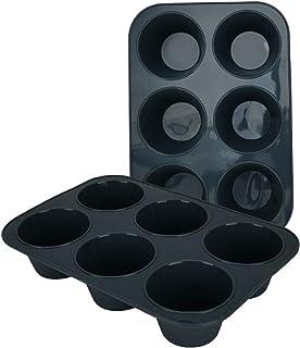 Lot de 2 moules à muffins profonds et géants en silicone pour 6 muffins - Antiadhésif - Moule à cupcakes - Moule en silico...