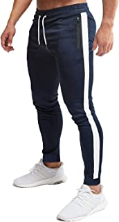 FASKUNOIE Men's Jogger Breathable Mesh Stripe Skinny Sweats Casual Pants with Zipper Pockets for Running Athletic