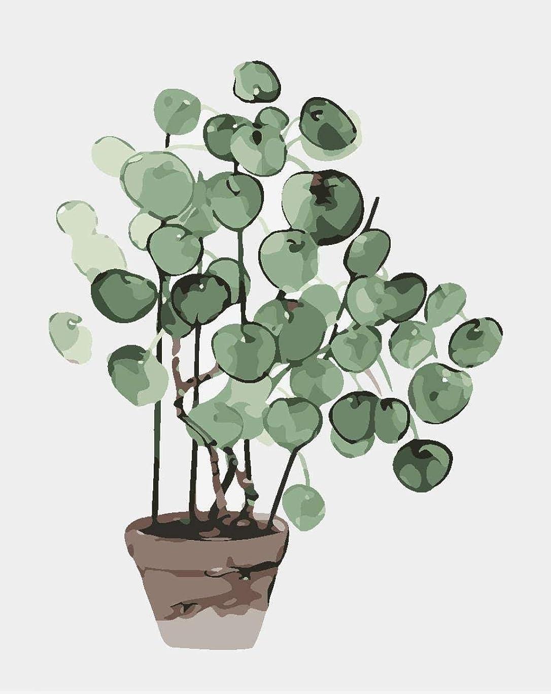 唇最小化する副産物大人用の数字でペイント緑の植物数字でペイントキャンバス上の初心者向けのブラシ3本のブラシと明るい色40x50cmフレームなし