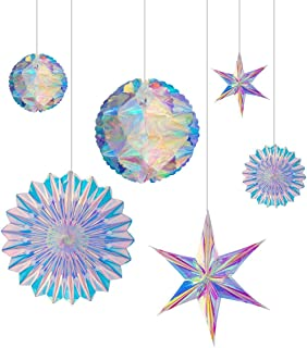 BTSD-home Iridescent Party Supplies Kit with Hanging Honeycomb Ball Decorative Paper Fan Snowflake Garlands for Birthday W...
