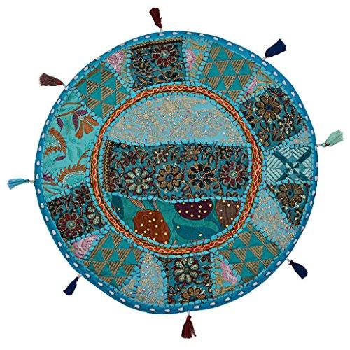 Stylo Culture Decorativo Indio Bohemio Redondo Cojines De Suelo Sala Patchwork Funda para Cojines De Sofa Azul Turquesa 45x45 cm Algodón Bordado Vintage Decoración del Hogar Funda De Almohada