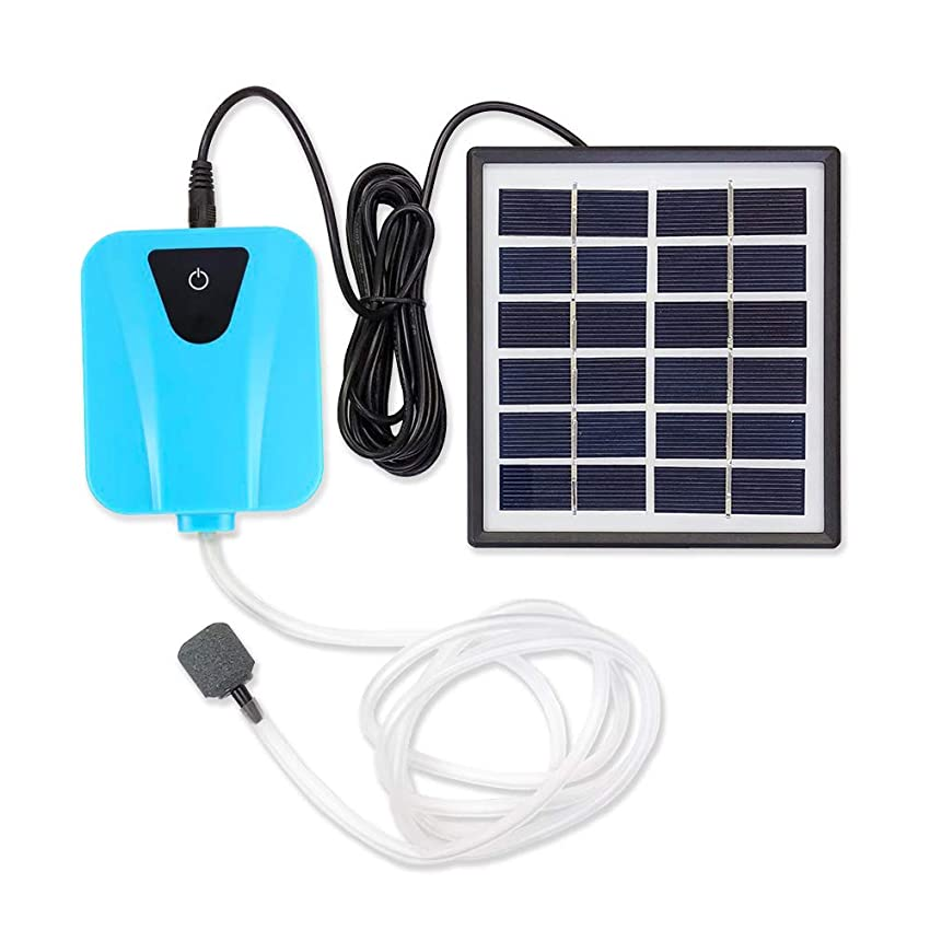 メドレー一目ワットソーラー充電式エアポンプ 【ブルー】 太陽光充電で電源不要 USB充電対応 エア吐出量毎分2L 静音設計 持ち運び使用可 ポータブルエアポンプ 各種水槽の酸素供給に FMTBSVAP03BU