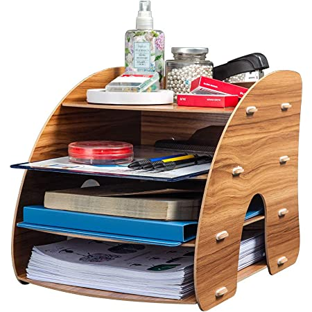 Homcasa 4 Layer Wooden Desktop Organiser, DIY Desk Tidy Stationary Storage Cabinet with 4 File Holder Sections for Home, Office and School (Brown)