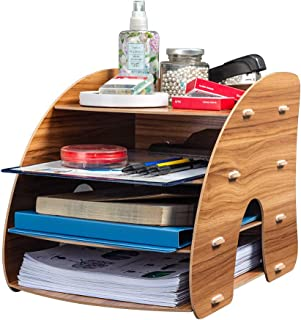 Homcasa 4 Layer Wooden Desktop Organiser, DIY Desk Tidy Stationary Storage Cabinet with 4 File Holder Sections for Home, O...