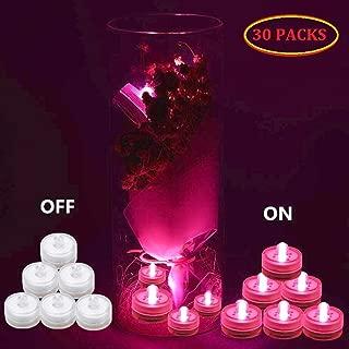 DEKOUH LED Tea Lights Underwater LED Submersible Lights Waterproof Wedding Seasonal Festival Celebration Flameless led vase Light (pink-30packs)