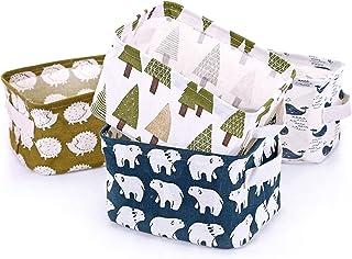 Boîte de Rangement Pliable Lin Tissu Bureau Rangé Stockage, Lot de 4 paniers de Rangement carrés Pliables pour étagères et...