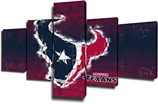 Native American Decor Houston Texans Paintings NFL Pictures 5 Piece Canvas Wall Art Modern Artwork Home Decor for Living Room Giclee Framed Gallery-Wrapped Stretched Ready to Hang(50''Wx24''H)