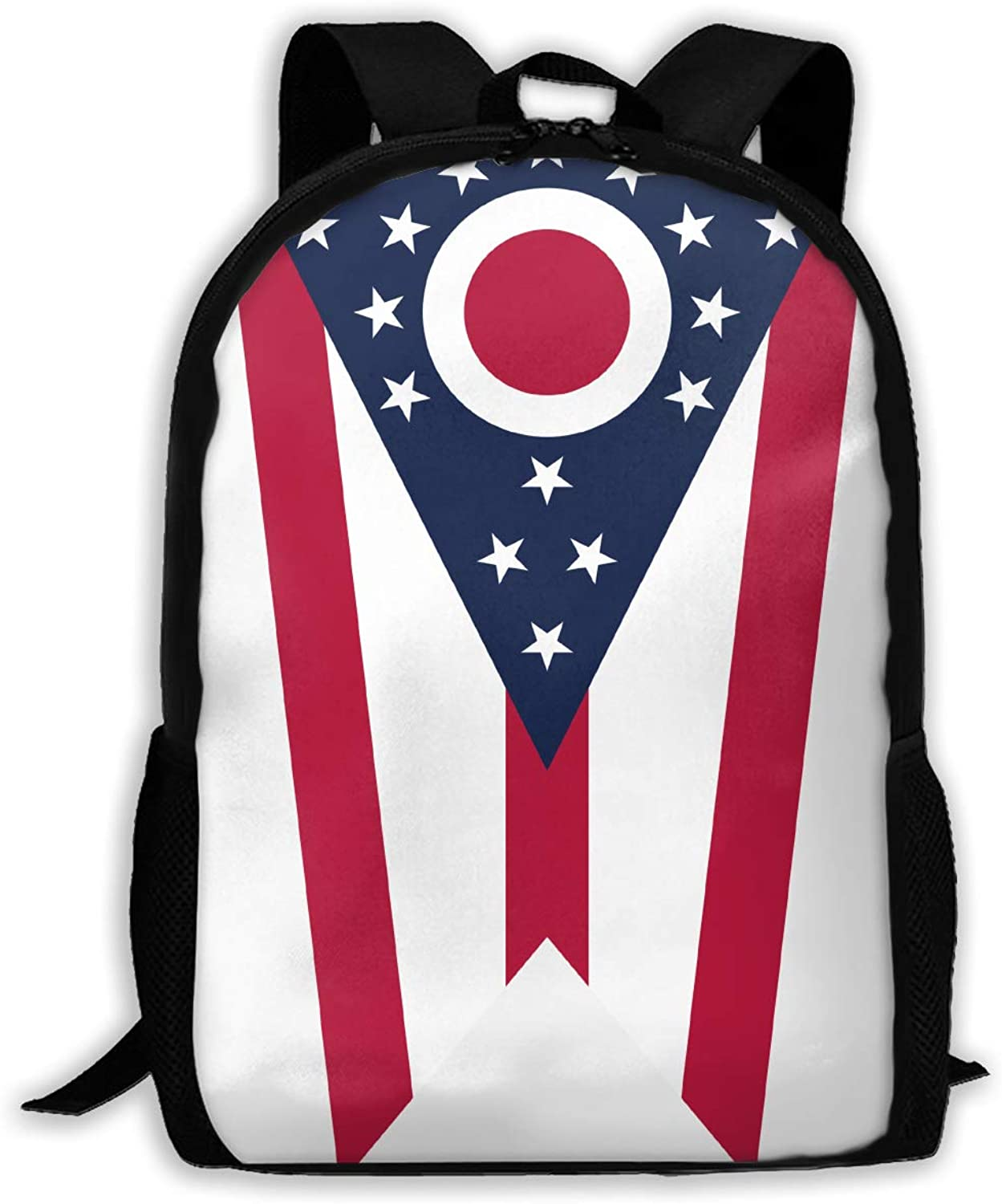 Adult Shoulder Bag Ohio State Flag Multipurpose 3D Printing Casual Backpack College Bags for Travel Camping Hiking Outdoor Sports Men Women