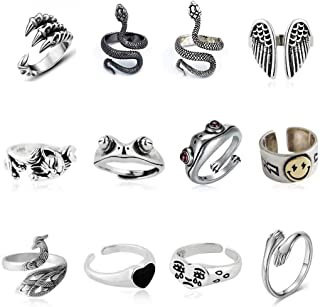 12 Pcs Silver Plated Frog Rings Set, Cute Animal Open Rings Pack, Vintage Goth Hippie Matching Rings, Cute and Stylish, Sn...