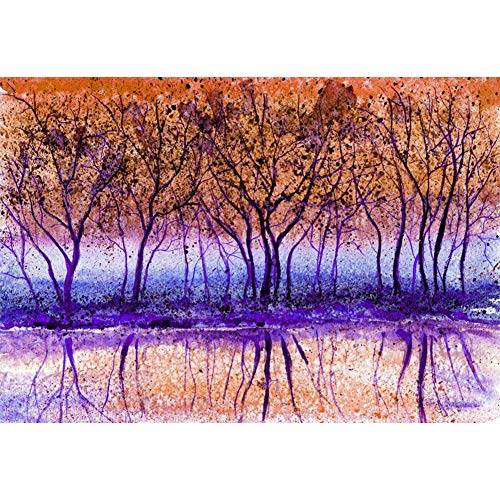 Drilling pattern reflection of tree painting DIY full diamond 5D round kit