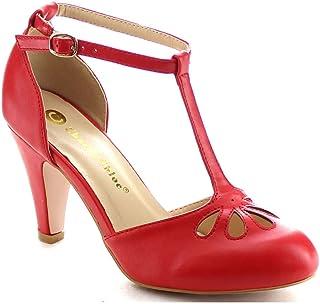 e30d83ace281 Chase   Chloe New Kimmy-36 Women s Teardrop Cut Out T-Strap Mid Heel