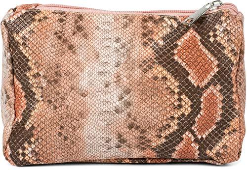 styleBREAKER Trousse de beauté pour Femmes en Cuir de Serpent coloré, Trousse à cosmétiques, Trousse de Maquillage, Organiseur de Sacs 02013017, Couleur:Orange-Marron