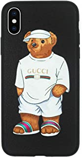 Stylish Bear Custom Fashion Protective Flexible Case/Cover/Skin Leather Finish for iPhone (White Bear, iPhone XR)