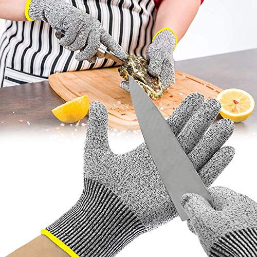 Cut Resistant Gloves Food Grade, Level 5 Protection Cut Proof Gloves, Work Kitchen Cutting Gloves for Oyster Shucking, Meat Cutting, Wood Carving and Fish Fillet Processing, 1 Pair (Small)