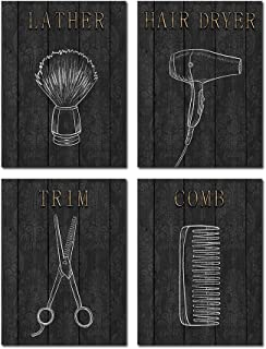 VVOVV Wall Decor Black and White Barber Shop Wall Art Fashion Painting Hair Dryer Comb Trim Lather Prints on Wooden Texture Background Gift for Baebers Baber Shops Salon Decor 12