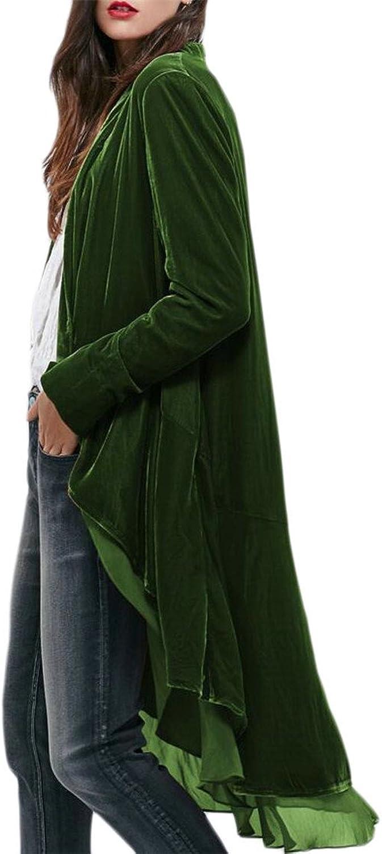 HTOOHTOOH Women Ruffled Asymmetric Velvet Blazers Coat Casual Jackets