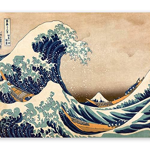 murando Fototapete Die große Welle vor Kanagawa 350x256 cm Vlies Tapeten Wandtapete XXL Moderne Wanddeko Design Wand Dekoration Wohnzimmer Schlafzimmer Büro Flur Vintage blau beige p-B-0009-a-a