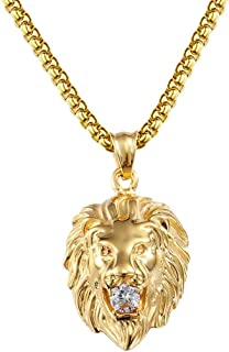 Ineffable Stainless Steel Vintage Lion Head Pendant Necklace Rope Chain Jewelry Punk Style